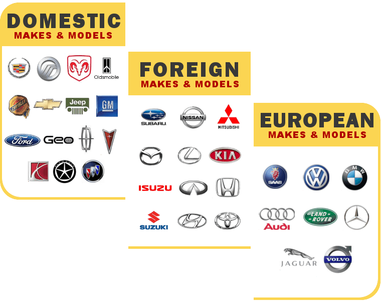 We Service All Domestic, Foreign & European Cars